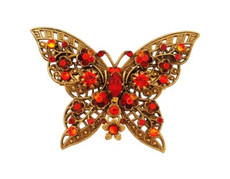 Michal Negrin Jewelry Crystal Butterfly Shape Pin - 100-102820-038 - Multi Color