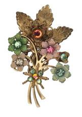 Michal Negrin Jewelry Swarovsky Crystals Flowers Pin - Multi Color