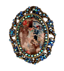 Michal Negrin Jewelry Oval Shape Printed Cameo Israel Pin - Multi Color