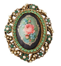 Michal Negrin Jewelry Oval Shape Printed Cameo Pin - 100-100790-211 - Multi Color