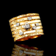 Kabbalah Jewelry Ring Seven Blessings, Gold And Diamonds