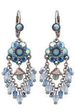 Michal Negrin Jewelry Silver Crystal Flower Hook Earrings - 110-098581-003 - Multi Color