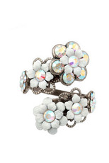 Michal Negrin Jewelry Silver Spiral Flowers Adjustable Ring - Multi Color