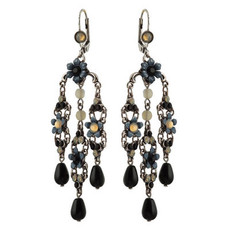 Michal Negrin Jewelry Silver Crystal Flower Hook Earrings - 110-099011-021 - Multi Color