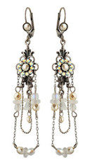 Michal Negrin Jewelry Silver Crystal Flower Hook Earrings - 110-100941-017 - Multi Color