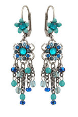 Michal Negrin Jewelry Silver Crystal Flower Hook Earrings - 110-100961-009 - Multi Color
