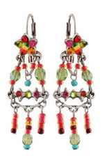 Michal Negrin Jewelry Silver Crystal Flower Hook Earrings - 110-103761-011 - Multi Color