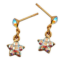 Michal Negrin Jewelry Gold Flower Crystal Post Earring - Multi Color