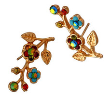 Michal Negrin Jewelry Gold Post Flower Crystal With Leaves Earrings - Multi Color