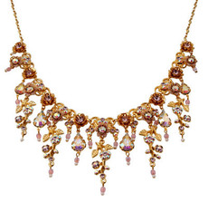 Michal Negrin Jewelry Gold Crystal Flower With Tear Drop Necklace - Multi Color