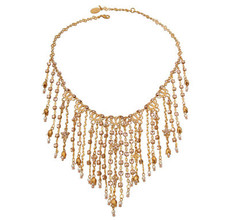 Michal Negrin Jewelry Gold Dangling Crystals Necklace - Multi Color