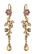 Michal Negrin Jewelry Gold Crystal Flower With Tear Drop Hook Earrings - Multi Color