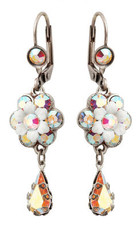 Michal Negrin Jewelry Silver Crystal Flower Hook Earrings With Tear Drop - Multi Color