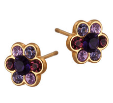 Michal Negrin Jewelry Gold Flower Post Earrings - 120-090252-035 - Multi Color
