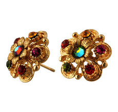 Michal Negrin Jewelry Gold Crystal Flower Post Earrings - Multi Color