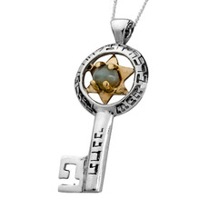 5 Metals Star Of David Key Pendant
