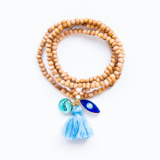 7Stitches Tan Wood Tassel  Bracelet Necklace