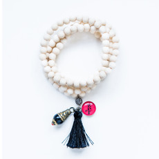 7Stitches White Wood Tassel Bracelet / Necklace