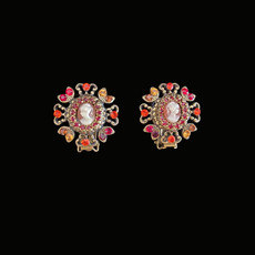 Michal Negrin Jewelry Clips Cameo Crystals Earrings