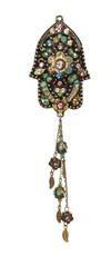 Michal Negrin Hamsa With Dangle Leaves Necklace - One Left