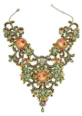 Michal Negrin Jewelry Multi Cameo Crystals Necklace - Multi Color