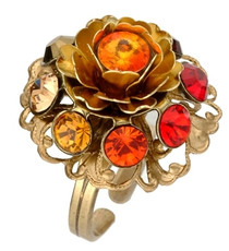 Michal Negrin Jewelry Flower Crystal Adjustable Ring - Multi Color