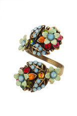 Michal Negrin Jewelry Spiral Flowers Adjustable Ring - 100-106930-058 - Multi Color
