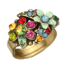 Michal Negrin Jewelry Flower Adjustable Ring - 100-106940-070 - Multi Color