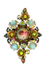 Michal Negrin Jewelry Crystal Flowers Hair Brooch Accessories - 100-106990-038 - Multi Color
