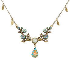 Michal Negrin Jewelry Crystal Flowers With Tear Drop Necklace - 100-108400-047 - Multi Color