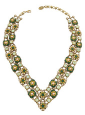 Michal Negrin Jewelry V Shape 2 Rows Crystal Flowers Necklace - Multi Color