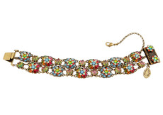 Michal Negrin Jewelry 2 Rows Crystal Flowers Bracelet - One Left