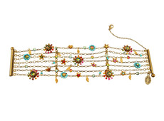 Michal Negrin Jewelry Flowers With Gold Leaves Bracelet - Multi Color