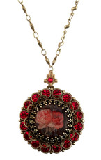 Michal Negrin Jewelry Antique Locket Crystals Necklace - Multi Color