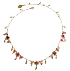 Michal Negrin Jewelry Flowers With Dangle Gold Leaves Necklace - Multi Color