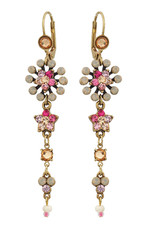 Michal Negrin Jewelry Crystal Star Hook Flower Earrings - Multi Color