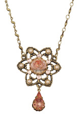 Michal Negrin Jewelry Flower With Tear Drop Necklace - Multi Color