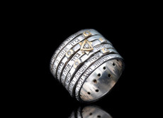 Kabbalah Silver Gold And Diamond Ring With Seven Blessings