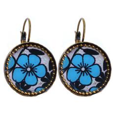 Iris Designs Floral Round Enamel Drop Earrings
