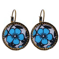 Iris Designs Floral Round Enamel Drop Earrings