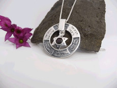 Twelve Kings Silver Kabbalah Pendant With Star Of David And Onyx