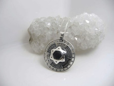 The 12 Kings Silver Star Of David Kabbalah Pendant W/ Onyx Stone