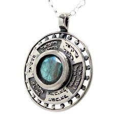 The 12 Kings Silver Kabbalah Pendant With Inserted Labradorite Stone