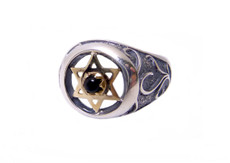 Silver Kabbalah Ring With Gold Star Of David W/Onyx Stone