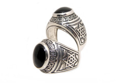 Combinatons Kabbalah Ring From Silver With Onyx Stone