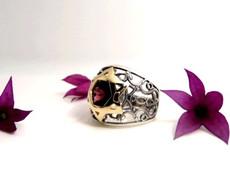 King Silver Kabbalah Ring With Gold Star Of David W/ Labradorite Stone