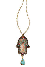 Michal Negrin Classic Hamsa With A Drop Necklace - Multi Color