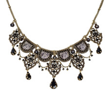 Michal Negrin Classic Crystal Flowers With Tear Drops Necklace