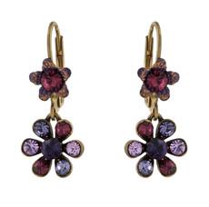 Michal Negrin Classic Crystal Flower Hook Earrings - Multi Color