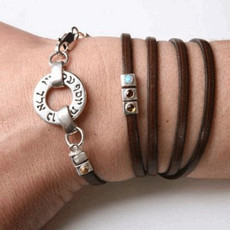 Israel Jewelry Leather Bracelet With Silver 72 Names